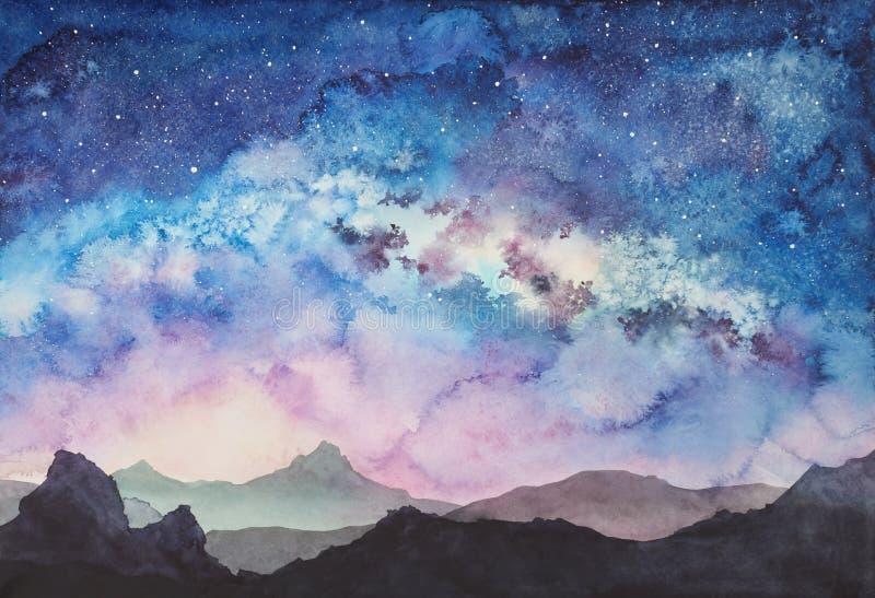Mjölkaktig väg på den stjärnklara sollöneförhöjningen royaltyfri illustrationer