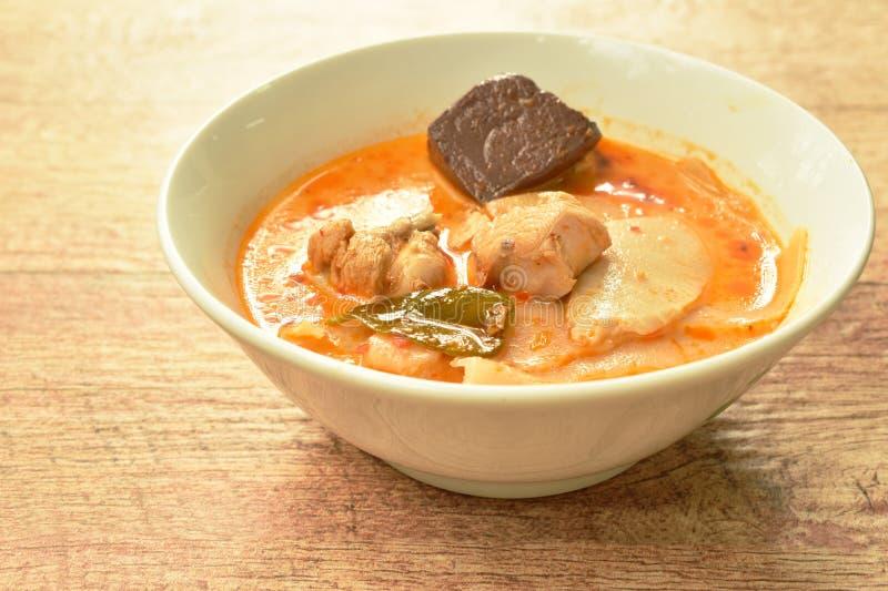 Mjölkar den kryddiga kokta skivan gravade bambuforsen med höna och blod i kokosnöt currysoppa på bunken royaltyfria foton