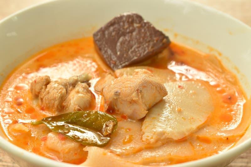Mjölkar den kryddiga kokta skivan gravade bambuforsen med höna och blod i kokosnöt currysoppa på bunken arkivbilder