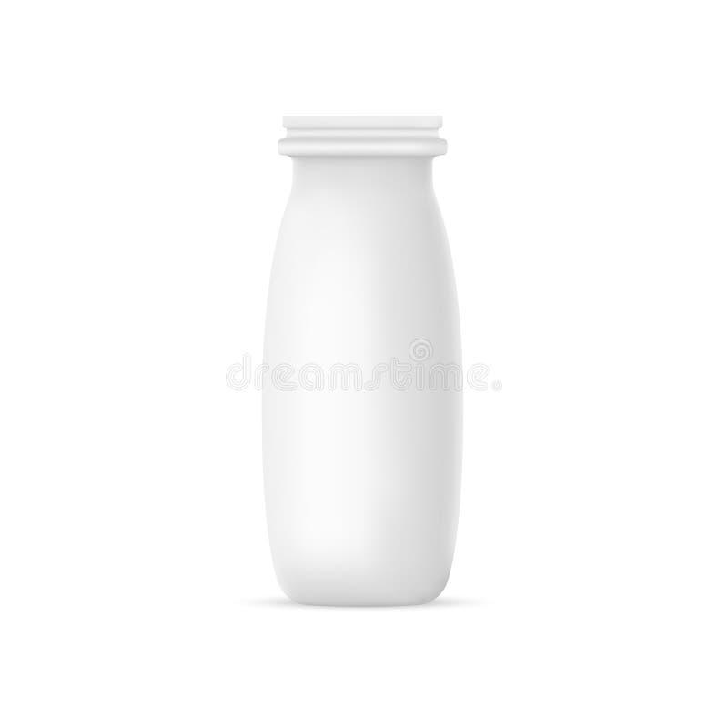 Mjölkar den realistiska yoghurten för vektor eller flaskan på vit bakgrund åtlöje 3D upp behållaren Plast- bunkemall vektor illustrationer