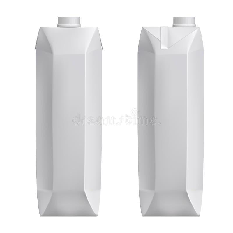 Mjölkar den tomma modellkartongen för vit, packen för, den realistiska vektorn 3d för fruktsaft royaltyfri illustrationer