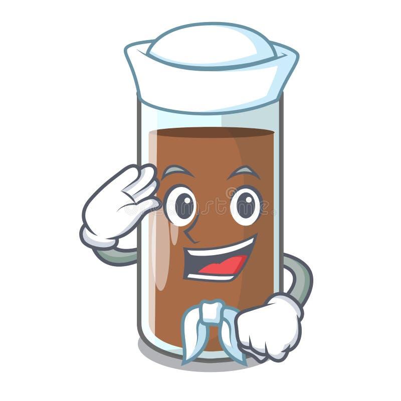 Mjölkar hällande choklad för sjömannen från flasktecknad film vektor illustrationer