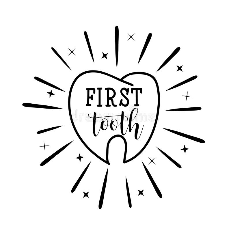 Mjölktand bokstäver Motivational citationsteckenaffisch för tandvård behandla som ett barn för hälsningsillustrationen för kortet vektor illustrationer