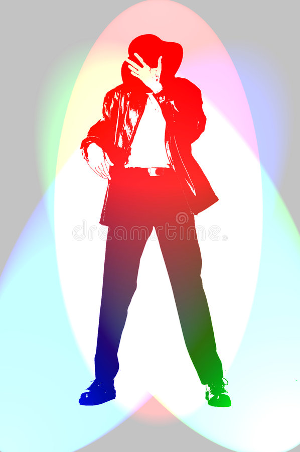 MJ Dance. Dancing in the lights MJ style royalty free illustration