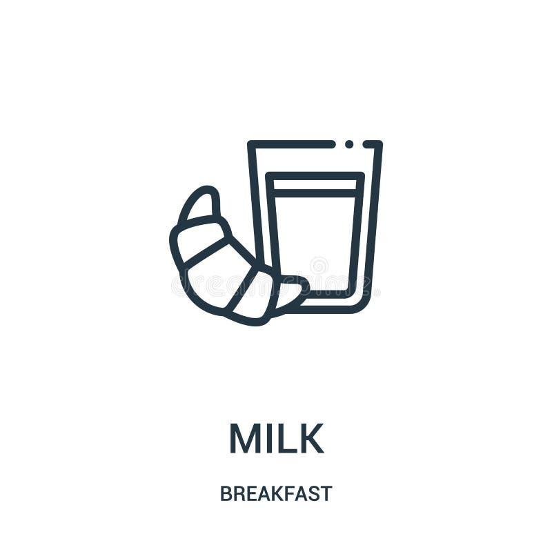 mj?lka symbolsvektorn fr?n frukostsamling r royaltyfri illustrationer