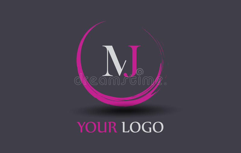 MJ M J Letter Logo Design royalty free illustration