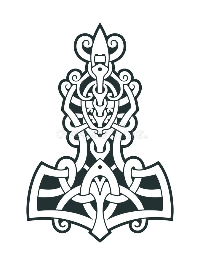 Mjollnir Thors Hammer Is An Amulet Of Vikings Stock Vector