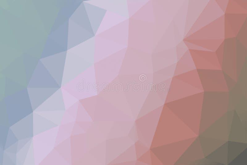 Mjuk brun och blå färgad lutningtriangelbakgrund för korall, abstrakt polygonmodell - photoshopillustration royaltyfri bild