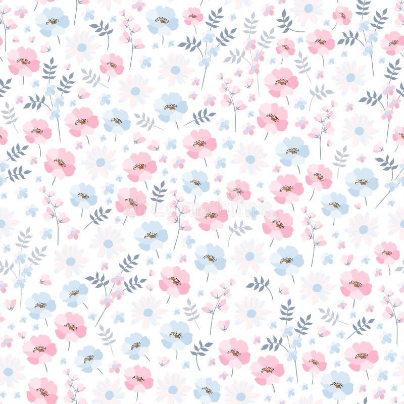 Mjuk ditsy blom- modell Sömlös vektordesign med blåa och rosa blommor för ljus - på vit bakgrund vektor illustrationer