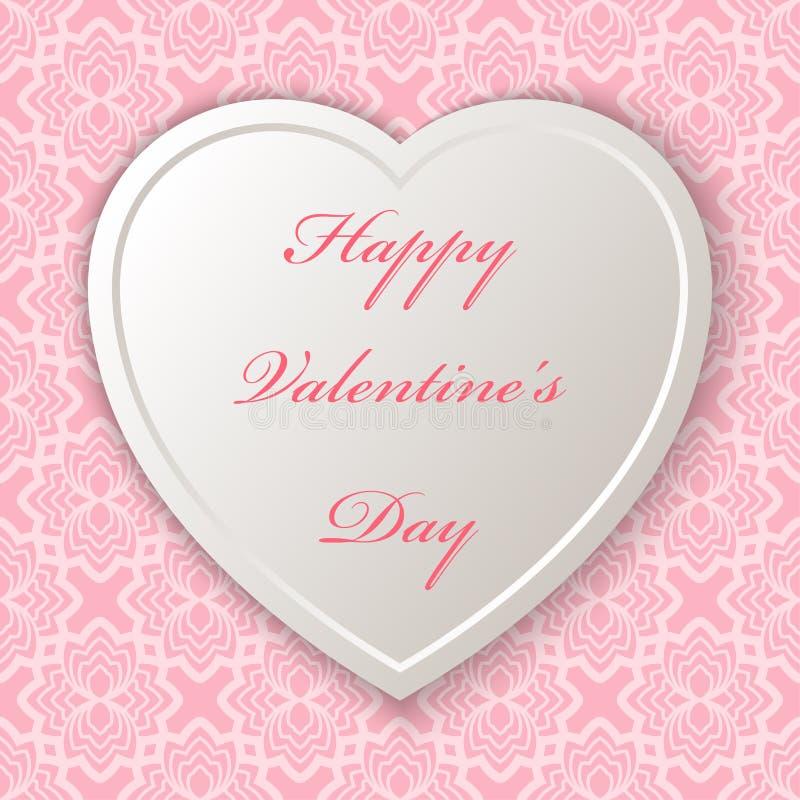 Mjuk hjärta med för valentin` s för text lycklig dag seamless modell royaltyfri illustrationer