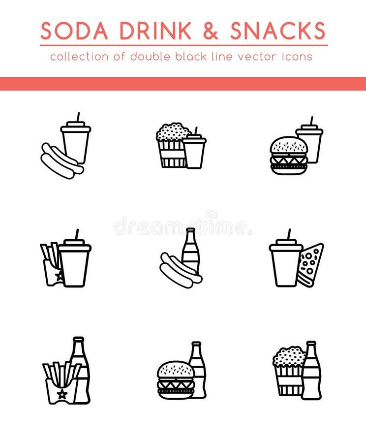 Mjuk sodavattendrink och mellanmål vektor illustrationer