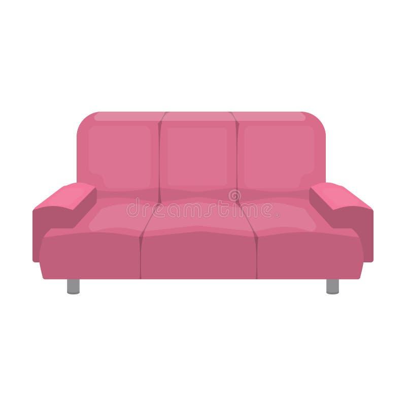 Mjuk, stilfull och bekväm soffa Enkel symbol för möblemang i illustration för materiel för symbol för vektor för tecknad filmstil vektor illustrationer