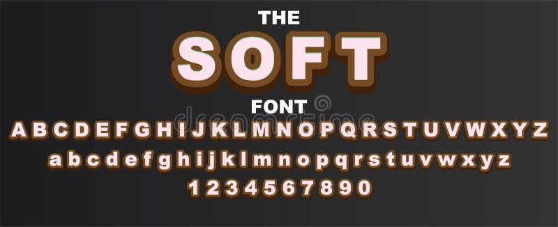 Mjuk stilsort och alfabet med nummer Design f?r vektortypografibokstav vektor illustrationer