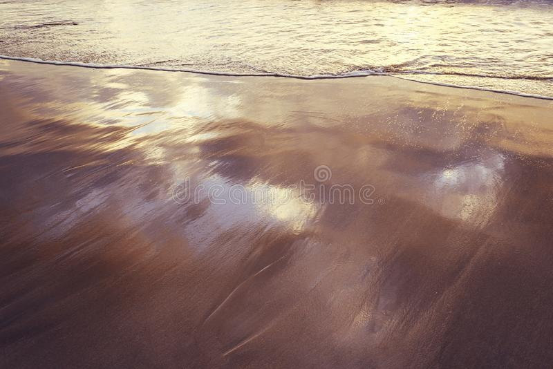 Mjuk våg på den våta sanden av kusten royaltyfri bild