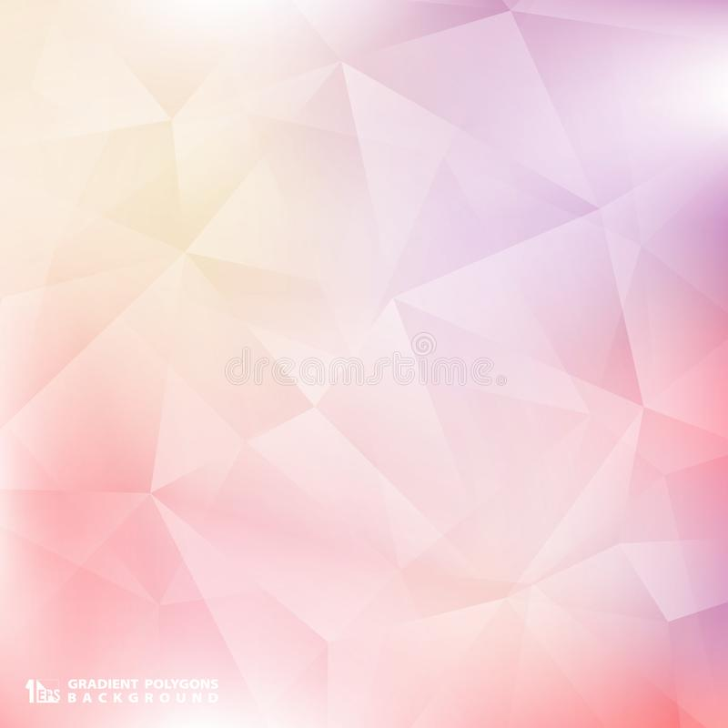 Mjuka färgrosa färger för abstrakt lutning och purpurfärgad bakgrundspolygonmodell Du kan använda för affischen, presentationen,  stock illustrationer