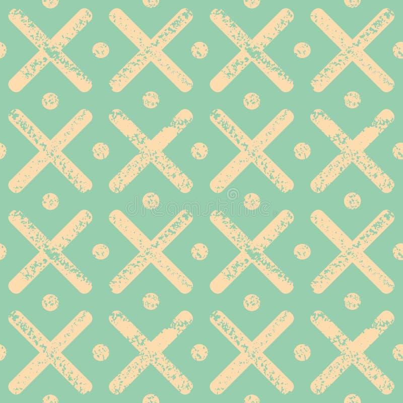 Mjuka gula prickar och kors med texturerad kritaeffekt Ljus sömlös geometrisk vektormodell på mintkaramellgräsplan stock illustrationer