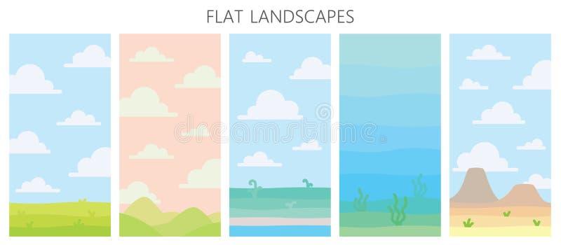 Mjuka naturlandskap Öken med berg, grönt sommarfält, kust med växter, undervattens- sikt med havsväxt royaltyfri illustrationer