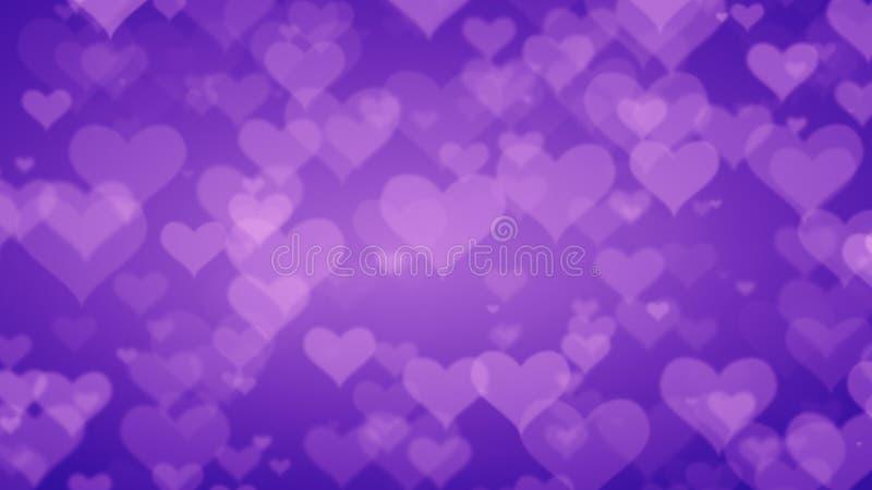 Mjuka purpurfärgade hjärtor på graderad bakgrund Valentindag Conce stock illustrationer
