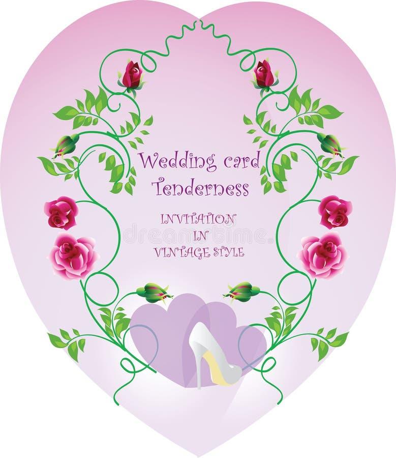 Mjukhet för bröllopkort Vektorbild av tappningstil royaltyfri illustrationer