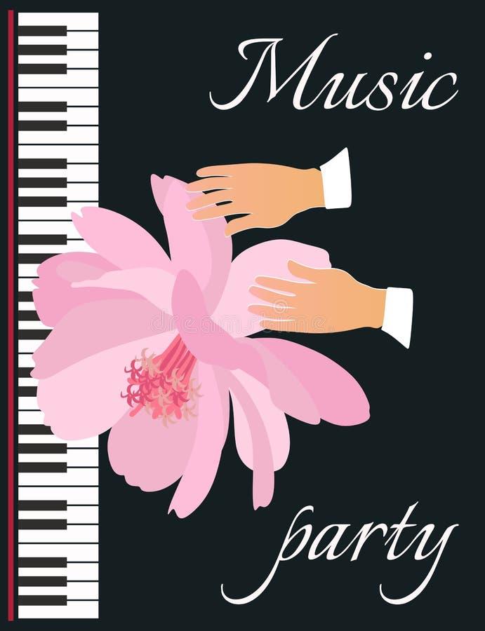 Mjukhet och musik Symbolisk vektorillustration med en härlig rosa blomma, händer av en musiker och pianotangentbordet vektor illustrationer