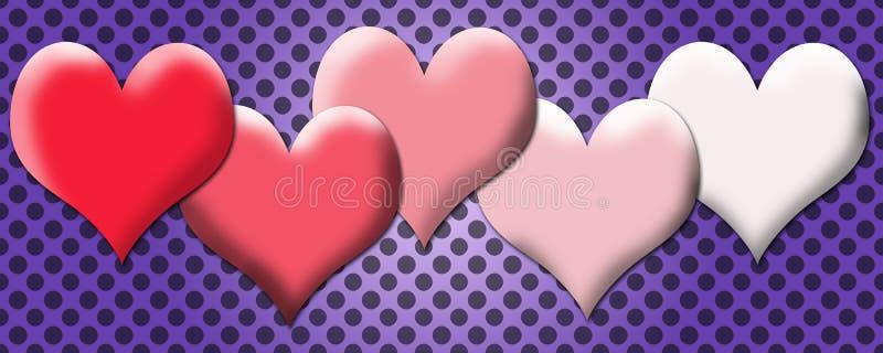 Mjukt älskvärt hjärtabaner royaltyfri illustrationer