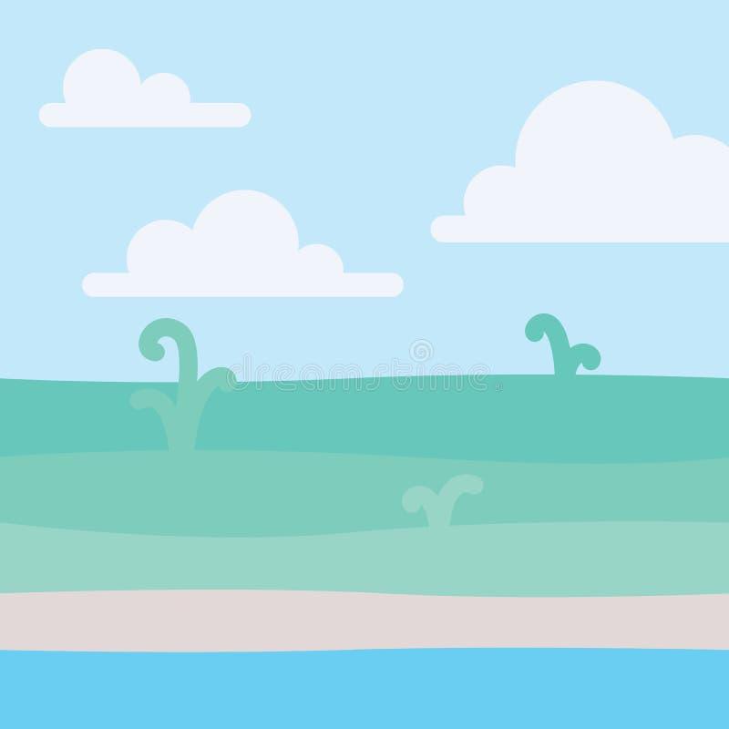 Mjukt naturlandskap med blå himmel, kusten och några gröna växter Kust- landskap Sjösida och glänta vektor vektor illustrationer