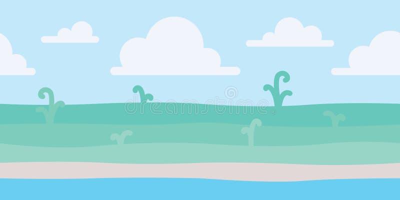 Mjukt naturlandskap med blå himmel, kusten och några gröna växter Kust- landskap sjösida Vektorillustration i stock illustrationer