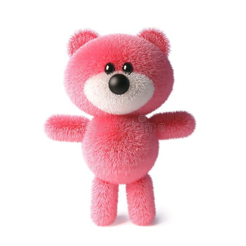 Mjukt rosa fluffigt tecken för nallebjörn som fridfullt står, illustration 3d royaltyfri illustrationer