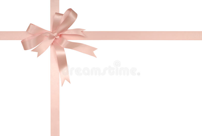 Mjukt rosa gåvaband och pilbåge royaltyfria foton
