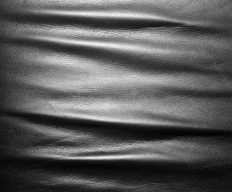 Mjukt rynkigt svart läder arkivbilder