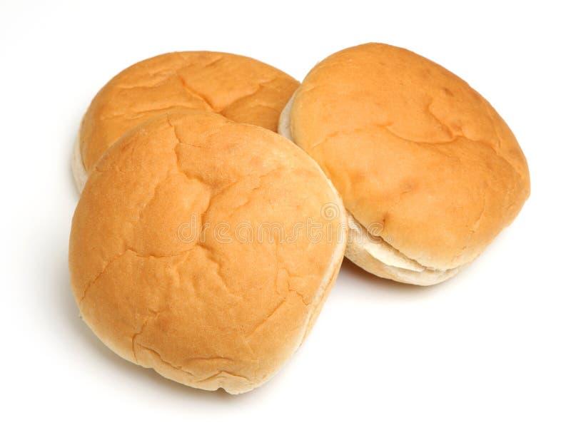 Mjukt vitt bröd Rolls som isoleras på vit bakgrund arkivbild
