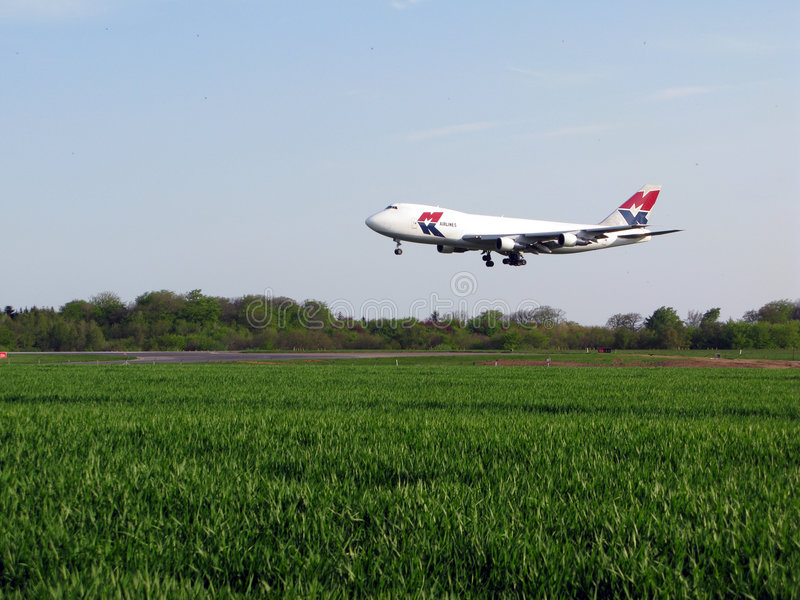 MK Airlines landing. At Luxembourg Airport stock photos