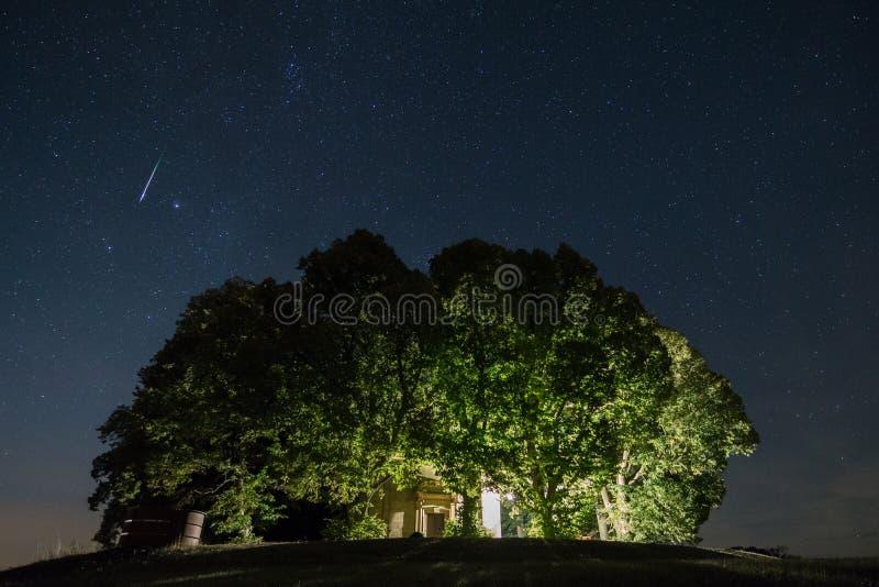 Mknąca gwiazda perseids meteorowa prysznic obrazy stock