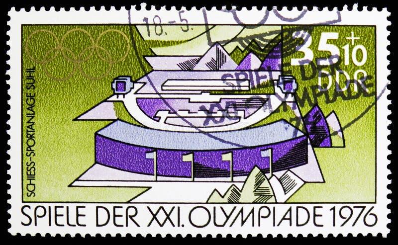 Mknący sportów udostępnienia w Suhl, lat Olympics 1976, Montreal seria około 1976, obrazy stock