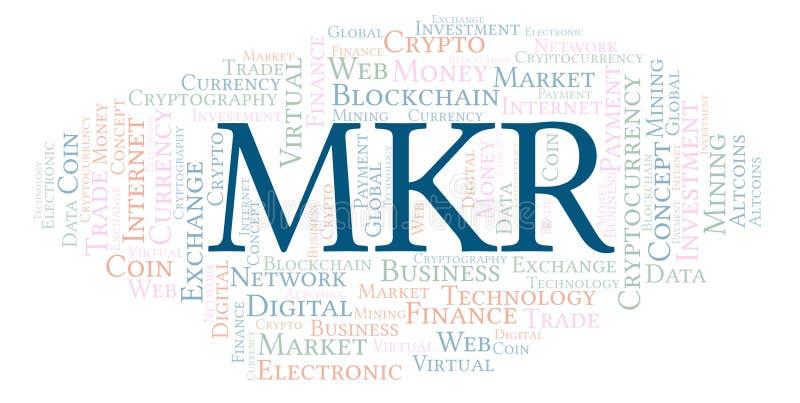 MKR oder Hersteller cryptocurrency Münzenwortwolke stock abbildung