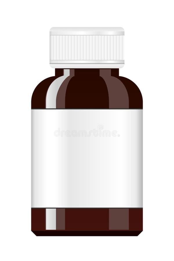 100ml空白瓶褐色能防止孩童瞎摸弄的剪报玻璃包括的查出的标签盒盖医学路径白色 糖浆医学瓶 有标签的药瓶 向量例证