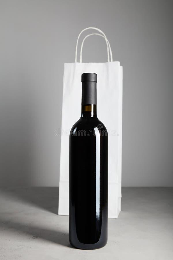 750 ml black wine bottle. Red wine.  stock photo