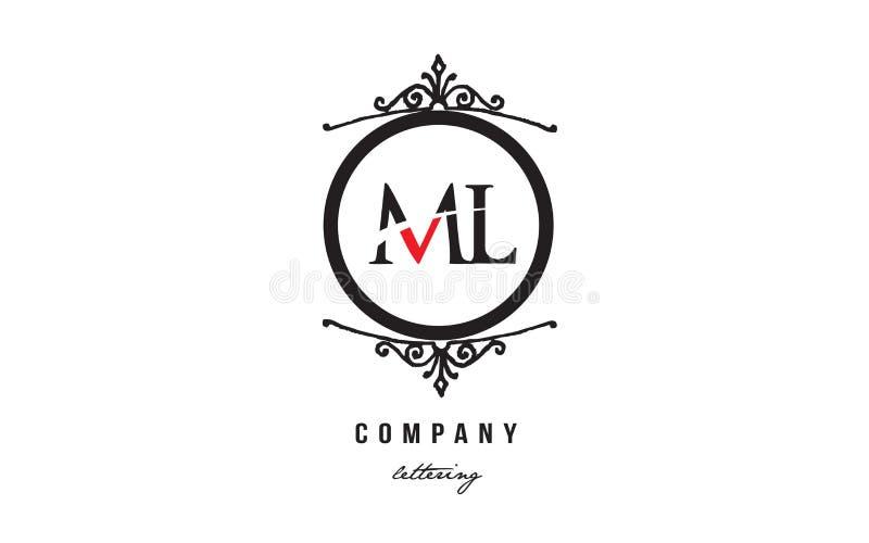 ML M L röd vit svart dekorativ design för symbol för kombination för logo för monogramalfabetbokstav vektor illustrationer
