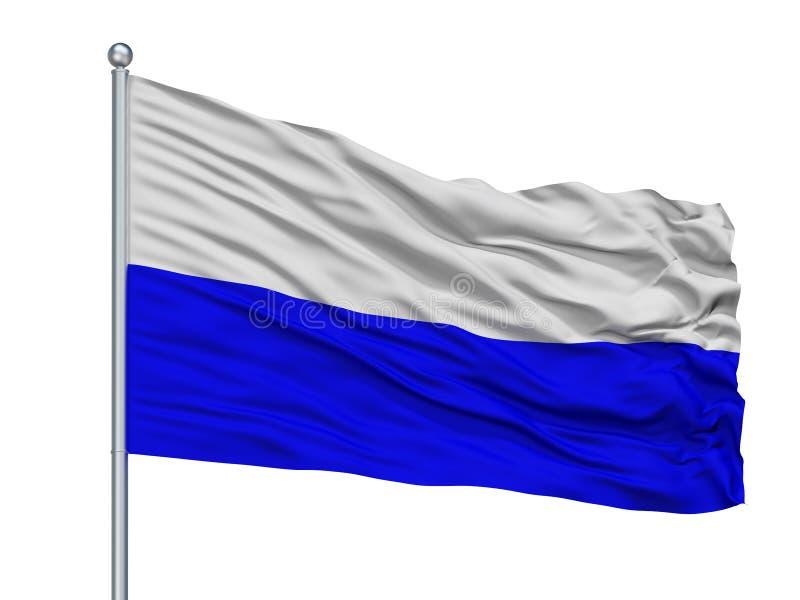 Mlada Boleslav City Flag On Flagpole, República Checa, aislada en el fondo blanco ilustración del vector