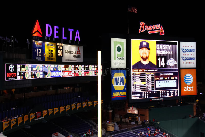 MLB亚特兰大Braves -特纳域记分牌 免版税库存图片