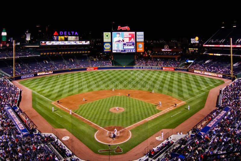 MLB Atlanta Braves - From Behind Home Plate. A view of Turner Field, home of the Major League Baseball Atlanta Braves, at night