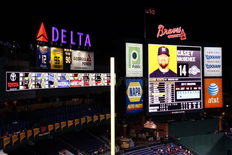 MLB Atlanta Braves - Turner Field Scoreboard. A view of the scoreboard at Turner Field, home of the Major League Baseball Atlanta Braves, at night royalty free stock images