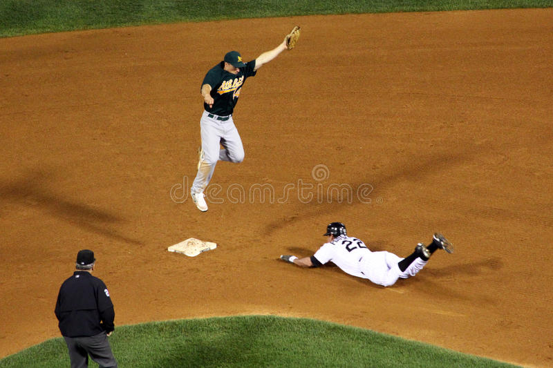 MLB - headfirst into second! royalty free stock image