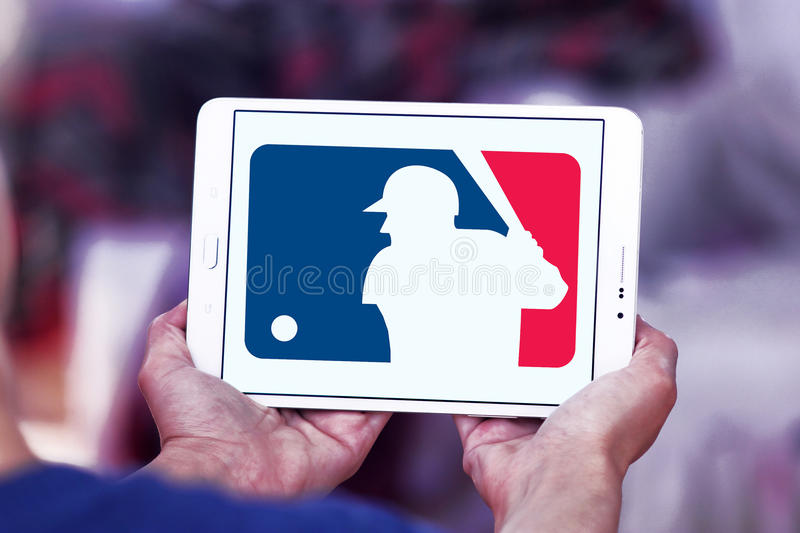MLB , Major League Baseball logo. Logo of american MLB , Major League Baseball on samsung tablet royalty free stock image