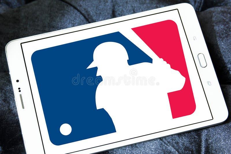 MLB , Major League Baseball logo. Logo of american MLB , Major League Baseball on samsung tablet stock photography