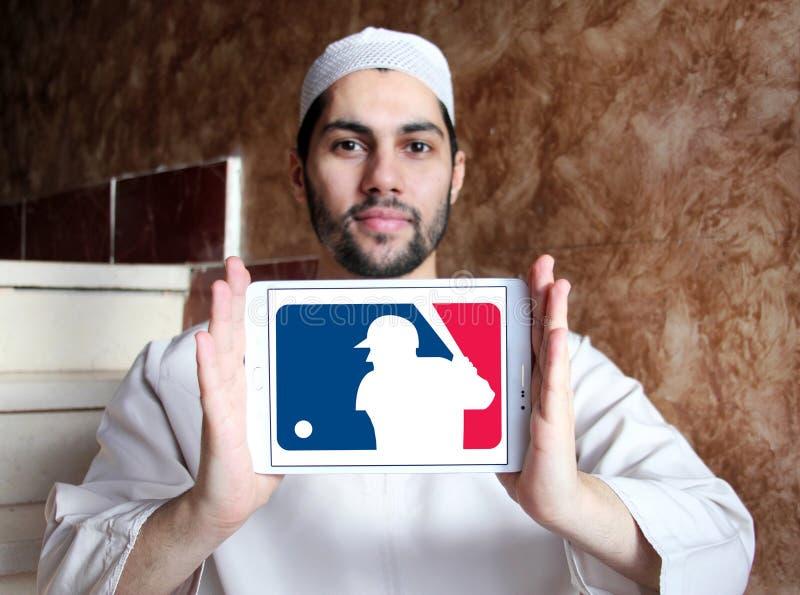 MLB , Major League Baseball logo. Logo of american MLB , Major League Baseball on samsung tablet holded by arab muslim man stock images