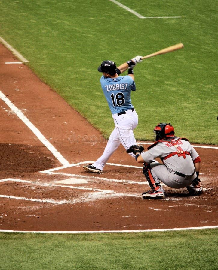 MLB Tampa Bay rayonne le joueur Zobrist image libre de droits