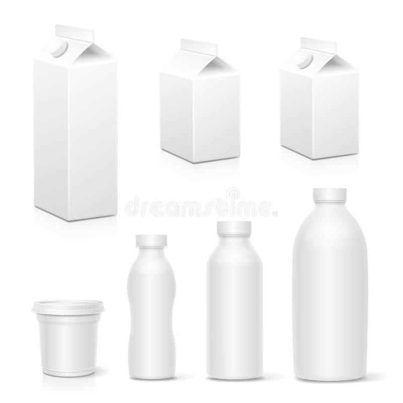 Mleka i soku kartonu pakunku białych pudełek nabiałów paczki inkasowy Realistyczny egzamin próbny w górę wektoru ilustracji