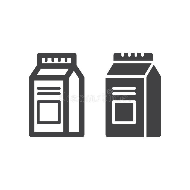 Mleka Lub soku kartonu pudełka paczka kreskowa stała ikona, kontur i piktogram odizolowywający na bielu, wypełniający wektoru zna ilustracja wektor