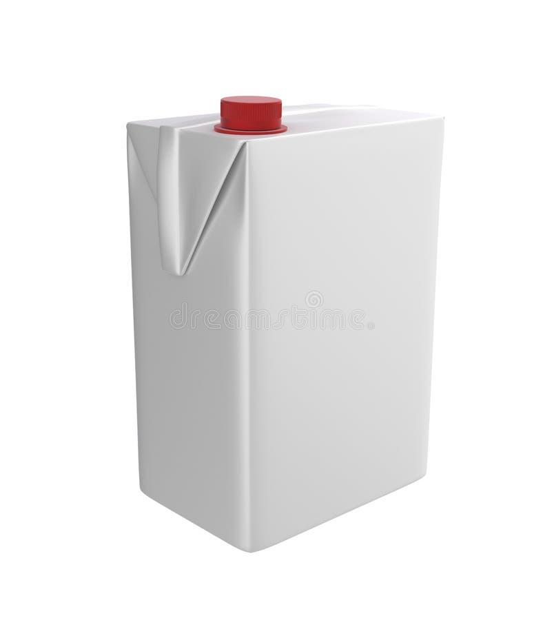 Mleka, soku lub śmietanki karton, Czerwony dekiel Biały tło Ścinek ścieżka Pusty szablon dla twój projekta ilustracja wektor